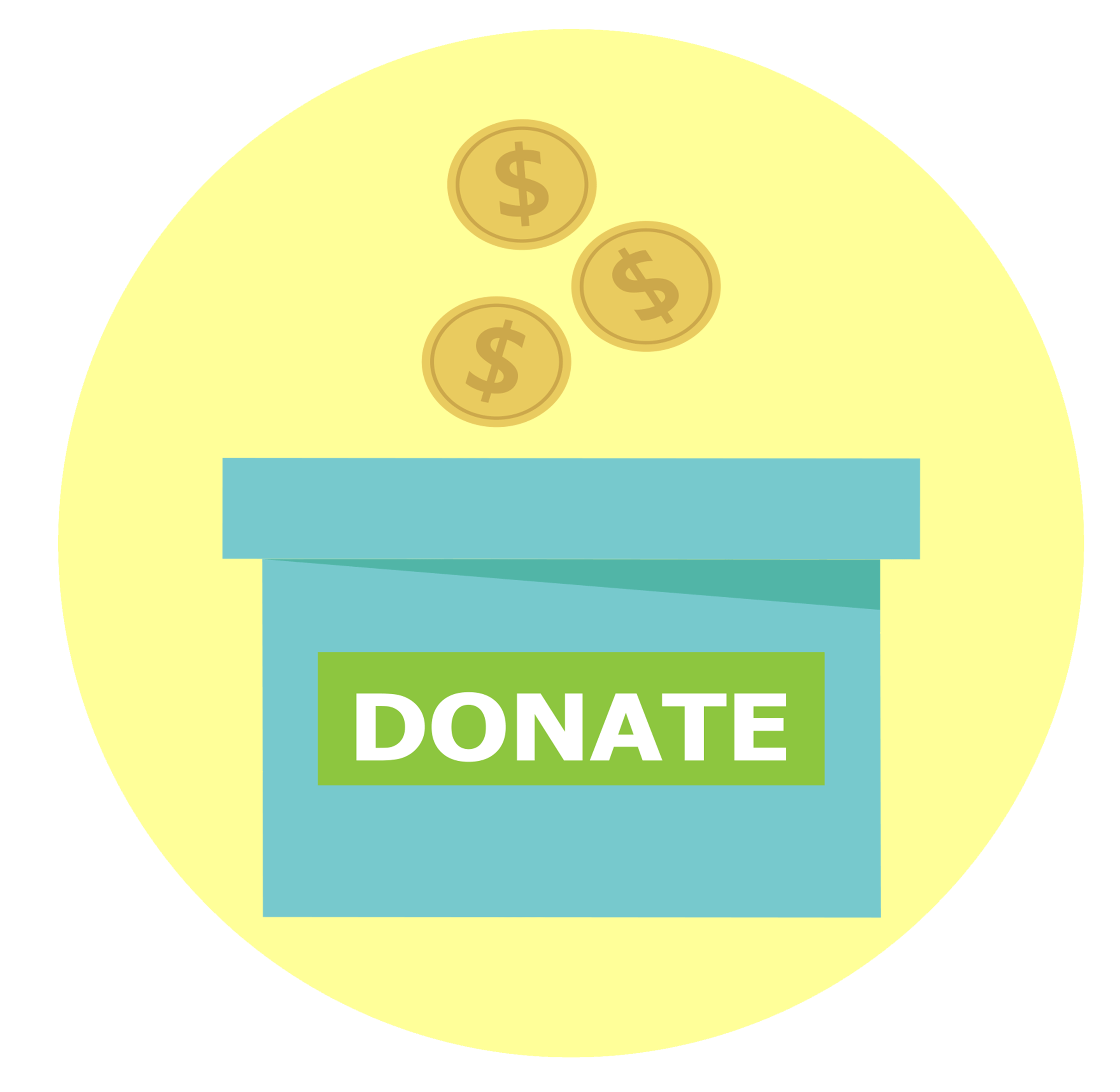 Donate. with yellow background