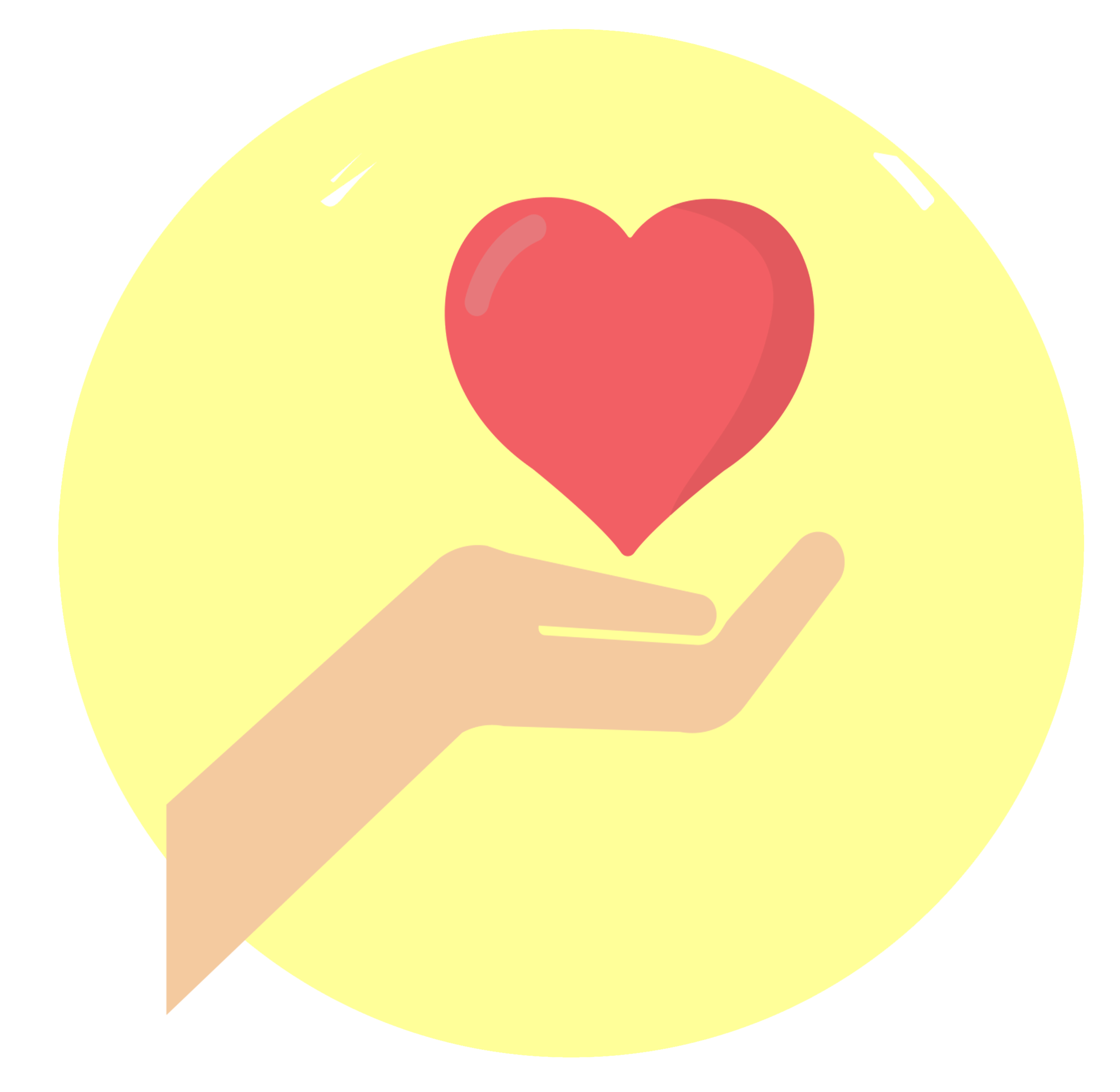 Hand and Heart with yellow background